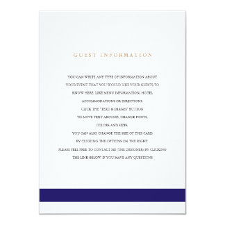 Nautical Navy Wedding Insert Card