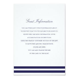 Nautical Navy Wedding Insert 11 Cm X 16 Cm Invitation Card