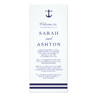 "Nautical Navy Wedding Program 4"" X 9.25"" Invitation Card"