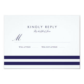 Nautical Navy Wedding RSVP 9 Cm X 13 Cm Invitation Card