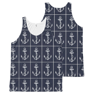 Nautical Navy & White Anchor All-Over Print Tank Top