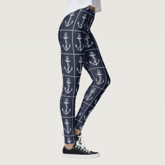 Nautical Navy & White Anchor Leggings