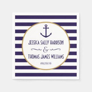 Nautical Navy & White Stripe Anchor Wedding Disposable Serviette