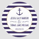 Nautical Navy & White Stripe Anchor Wedding Favour Classic Round Sticker