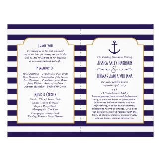 Nautical Navy & White Stripe Anchor Wedding Flyer