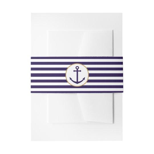 Nautical Navy & White Stripe Anchor Wedding Invitation