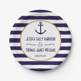 Nautical Navy & White Stripe Anchor Wedding Paper Plate