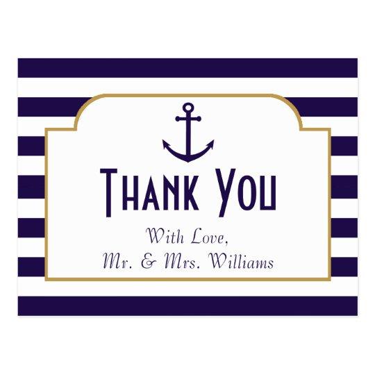Nautical Navy & White Stripe Anchor Wedding Postcard