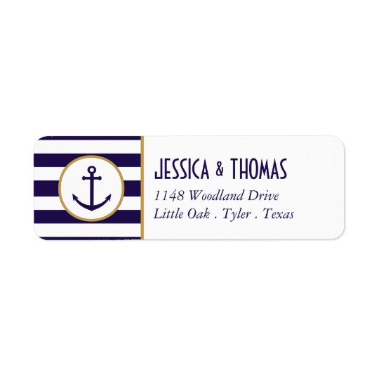 Nautical Navy & White Stripe Anchor Wedding Return Address Label