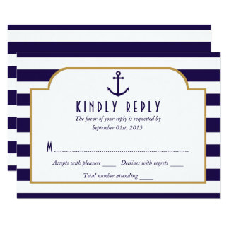 Nautical Navy & White Stripe Anchor Wedding RSVP Card