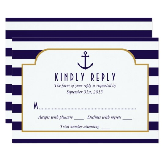 Nautical Navy & White Stripe Anchor Wedding RSVP