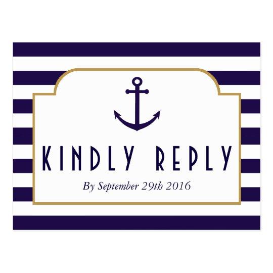 Nautical Navy & White Stripe Anchor Wedding RSVP Postcard