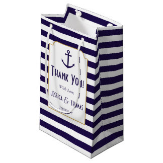 Nautical Navy & White Stripe Anchor Wedding Small Gift Bag