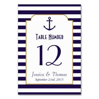 Nautical Navy & White Stripe Anchor Wedding Table Cards
