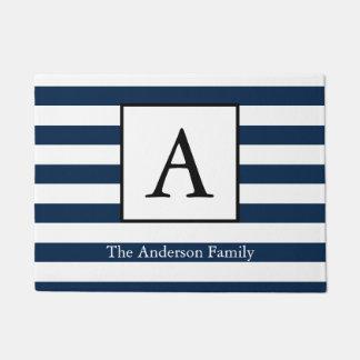 Nautical Navy White Stripes & Family Name Doormat
