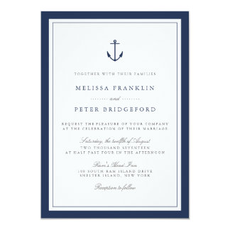 Nautical Navy & White Wedding Invitation | Anchor