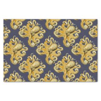 Nautical Navy & Yellow Vintage Octopus Tissue Paper