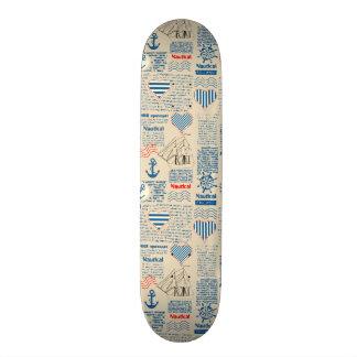 Nautical Newspaper Pattern 20.6 Cm Skateboard Deck