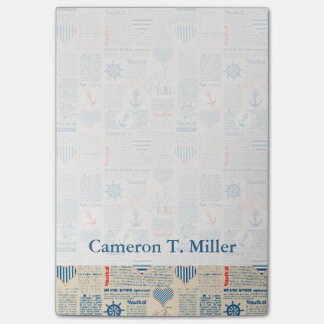 Nautical Newspaper Pattern   Add Your Name Post-it Notes