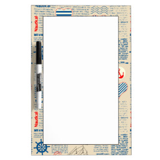 Nautical Newspaper Pattern Dry Erase Board