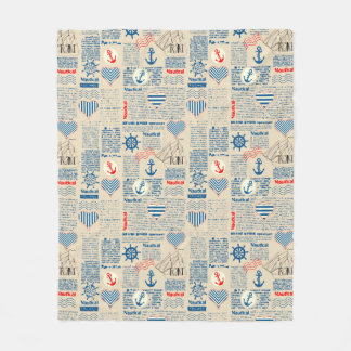 Nautical Newspaper Pattern Fleece Blanket