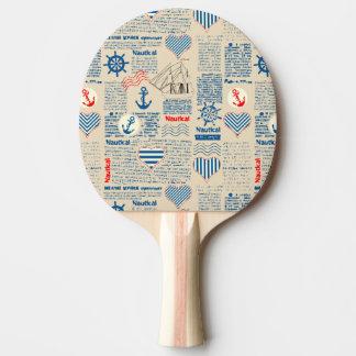 Nautical Newspaper Pattern Ping Pong Paddle