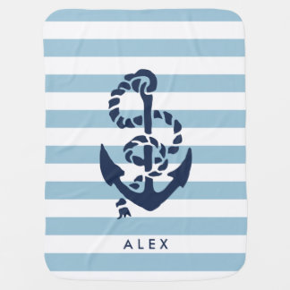 Nautical Nursery Blue Stripe Anchor Personalized Baby Blanket