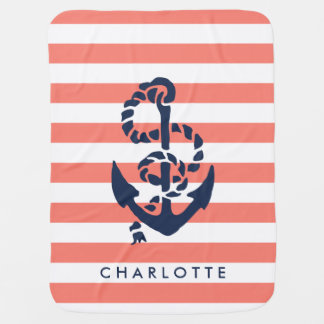 Nautical Nursery Coral Stripe Anchor Personalized Baby Blanket