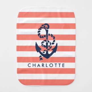 Nautical Nursery Coral Stripe Anchor Personalized Baby Burp Cloth