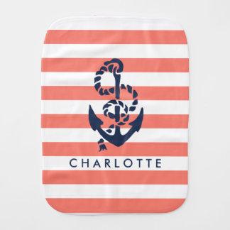 Nautical Nursery Coral Stripe Anchor Personalized Burp Cloth