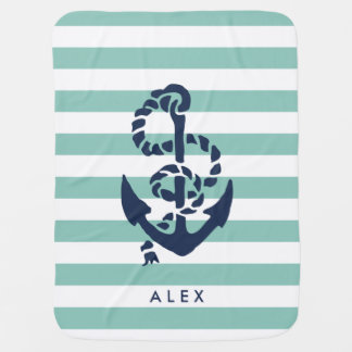 Nautical Nursery Mint Stripe Anchor Personalized Baby Blanket