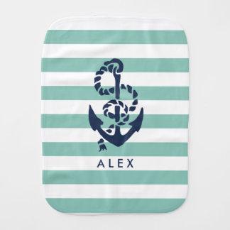 Nautical Nursery Mint Stripe Anchor Personalized Burp Cloth