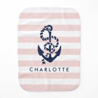 Nautical Nursery Pink Stripe Anchor Personalised