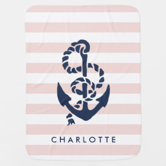 Nautical Nursery Pink Stripe Anchor Personalized Baby Blanket