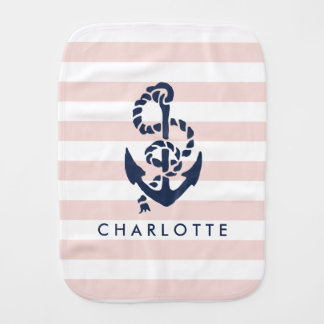 Nautical Nursery Pink Stripe Anchor Personalized Baby Burp Cloth