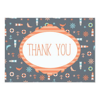 Nautical Ocean Anchor Lighthouse Thank you Card