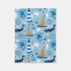 Nautical Ocean Blue and Orange Fleece Blanket