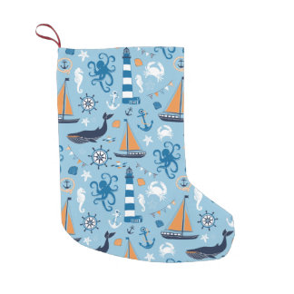Nautical Ocean Blue and Orange Small Christmas Stocking