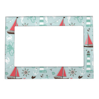 Nautical Ocean Blue and Rose Magnetic Frame