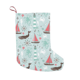 Nautical Ocean Blue and Rose Small Christmas Stocking
