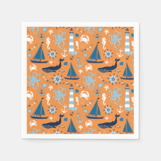 Nautical Ocean Orange Disposable Serviette