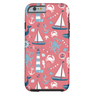 Nautical Ocean Rose Tough iPhone 6 Case