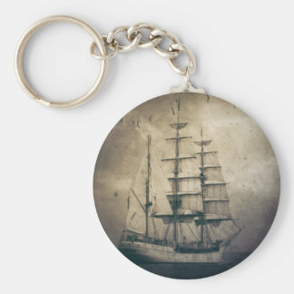 Nautical Ocean Sea Vintage Sailing sailboat Key Ring