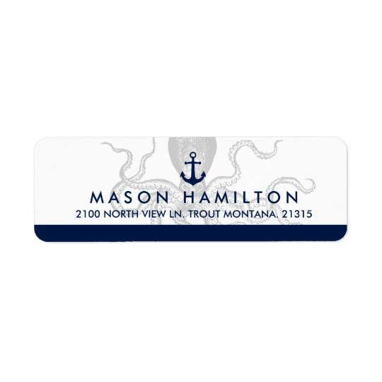 Nautical Octopus and Anchor | Return Address Return Address Label