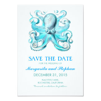 nautical octopus beach wedding save the date card