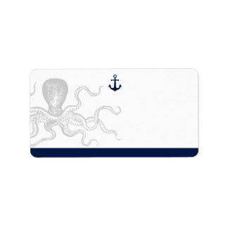 Nautical Octopus | Blank Address Label
