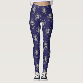 Nautical Octopus Blue Grey Illustration Art Leggings