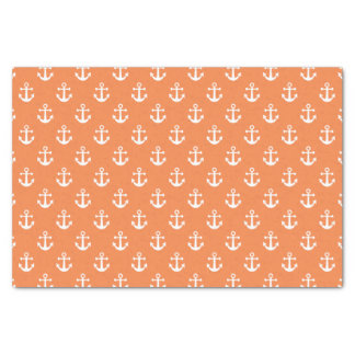 Nautical Orange and White Anchor Pattern Tissue Paper