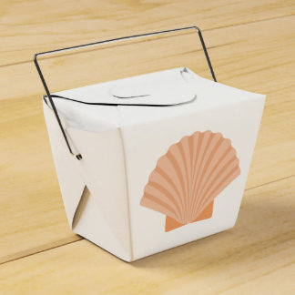 Nautical Orange Seashell Beach Wedding Party Favour Boxes
