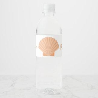 Nautical Orange Seashell Beach Wedding Party Water Bottle Label